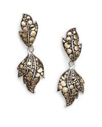 John Hardy - Metallic Dot Ayu Sterling Silver & 18k Yellow Gold Leaf Drop Earrings - Lyst