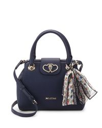 Love Moschino Blue Scarf Faux Leather Top Handle Bag