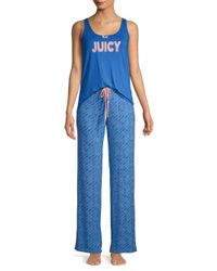 Juicy Couture - Blue Two-piece Printed Pajama Set - Lyst