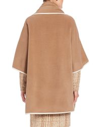 Akris Punto Natural Contrast Piping Wool & Cashmere Cape