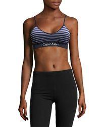 Calvin Klein Blue Horizon Seamless Striped Bralette