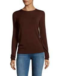 Tibi Brown Long-sleeve Crewneck Sweater