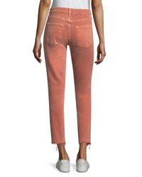 AMO Multicolor Stix Crop Raw Hem Skinny Jeans