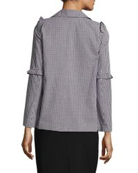 Saks Fifth Avenue Black Gingham-check Ruffled Jacket