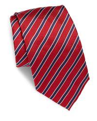 Brioni Red Striped Silk Tie for men