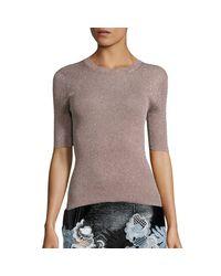 3.1 Phillip Lim Blue Navy Metallic-knit Top