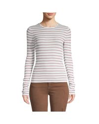Vince Gray Striped Wool Top