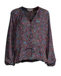 Parker Black Rosline Silk-blend Floral Blouse