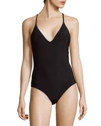 Red Carter Black Strappy Swimsuit