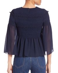 See By Chloé Blue Ruffled Smocked Blouse