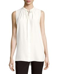 Lafayette 148 New York White Annetta Solid Silk Tie-front Top