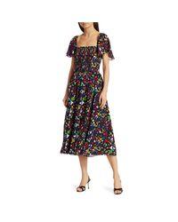 Tanya Taylor Black Glenda Smocked Silk Midi Dress
