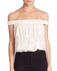 Bec & Bridge White Lady Lace Off-the-shoulder Top