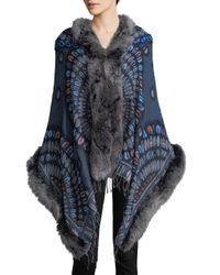 Belle Fare - Blue Fox Fur-trimmed Wool And Cashmere Wrap - Lyst
