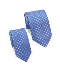Ferragamo Blue Frog-print Silk Tie/set Of 2 for men