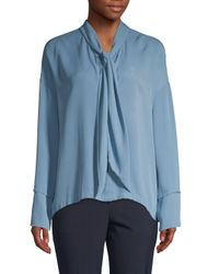 Theory Blue Plunging Silk Blouse