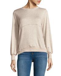 Saks Fifth Avenue - Natural Marled Hi-lo Crewneck Sweater - Lyst