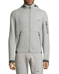 J.Lindeberg - Gray Athletic Hooded Jacket for Men - Lyst