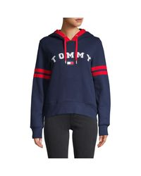 Tommy Hilfiger Blue Cotton-blend Logo Hoodie