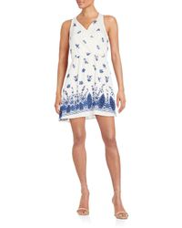 19 Cooper - Blue Floral Print Cutout Mini Dress - Lyst