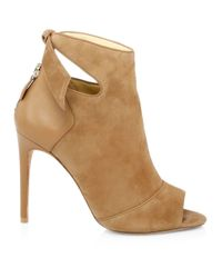 Alexandre Birman Natural Tory Suede & Leather Open Toe Booties
