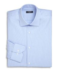 Saks Fifth Avenue Blue Trim-fit Micro Houndstooth Dress Shirt for men