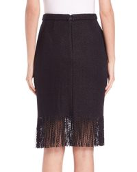 Adam Lippes - Black Fringe-trim Pencil Skirt - Lyst