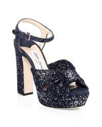 Jimmy Choo Blue Heloise Jacquard Platform Sandals