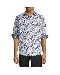 Robert Graham Blue Abrell Layered Print Sport Shirt for men