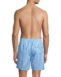 Trunks Surf & Swim Blue Sano Shark Geo Swim Shorts for men