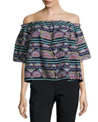 Romeo and Juliet Couture Blue Embroidered Cropped Top