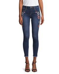 Miss Me Blue Floral Skinny Ankle Jeans