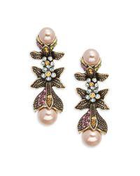 Heidi Daus - Metallic Crystal & Rhinestone Leaf Drop Earrings - Lyst