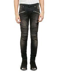 Balmain Black Distressed Moto Skinny Jeans for men