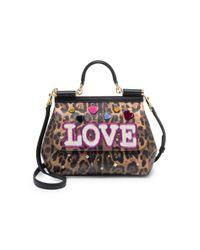 Dolce & Gabbana Multicolor Embellished Leopard Print Leather Top-handle Bag