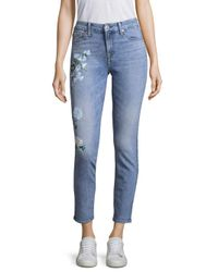 7 For All Mankind Blue Painted Floral Jeans
