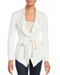 Magaschoni - White Tie-up Belt Solid Jacket - Lyst
