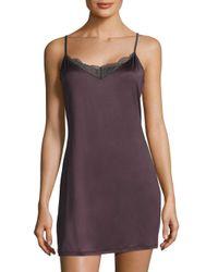 Hanro - Purple Lace-trimmed Solid Sleeveless Sleepdress - Lyst