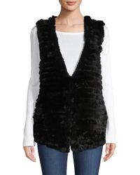Adrienne Landau Black Quilted Rabbit Fur Vest