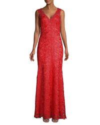 Tadashi Shoji Red Rose Lace V-neck Gown