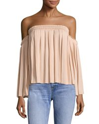 Elizabeth and James Multicolor Emelyn Pleated Off-the-shoulder Top
