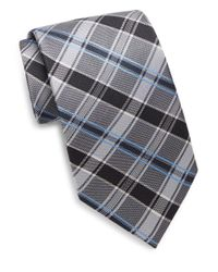 Saks Fifth Avenue - Gray Two-tone Plaid Silk Tie for Men - Lyst
