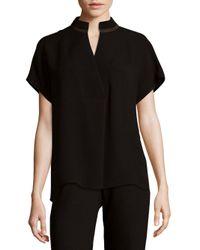 Lafayette 148 New York - Black Fluid Silk Blouse - Lyst