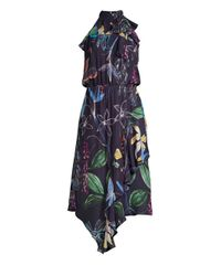 Parker Blue Julieta Stretch Silk Midi Dress