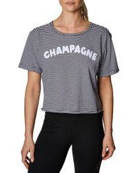 Betsey Johnson Black Champagne Oversized Striped Boxy T-shirt