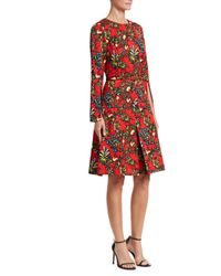 Oscar de la Renta Red Pomegranate Jacquard A-line Dress