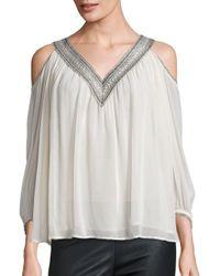 Love Sam White Lace Trim Cold-shoulder Top