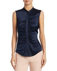Theory Blue Ruched Silk Top