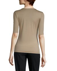 Akris Natural Roundneck Short Sleeves Stretch Top