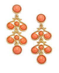 Kenneth Jay Lane - Orange Cabochon Scroll Drop Earrings - Lyst